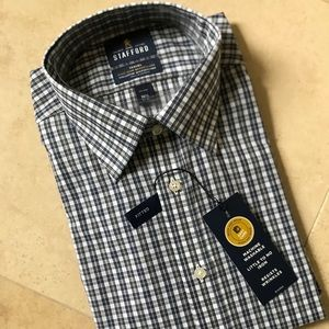 NWT Stafford Plaid fitted button down (16.5/32-33)
